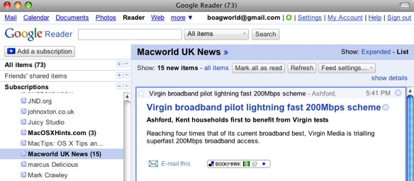 Google Reader displaying a partial RSS feed