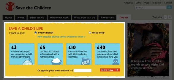 Save the Children's website