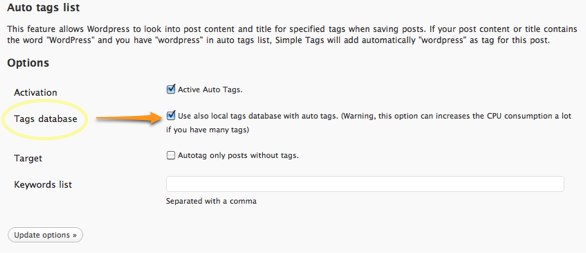 Simple Tag Settings