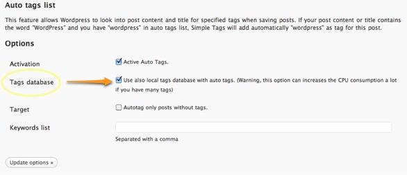 Simple Tag Settings