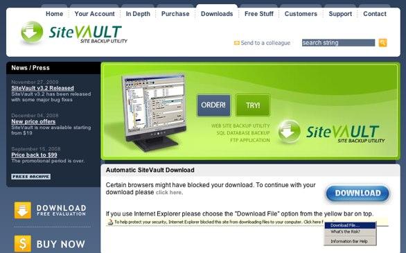 Screenshot of Site Vault website