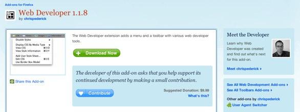 Web Developers Toolbar