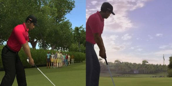 Image showing the difference between the game on the Wii (left) and the 360 (right)